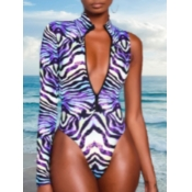Lovely V Neck Print Purple One-piece Swimsuit