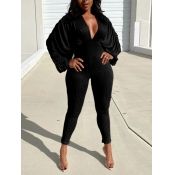 Lovely Chic V Neck Batwing Sleeve Black One-piece