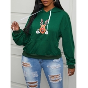 Lovely Casual Hooded Collar Print Drawstring Green