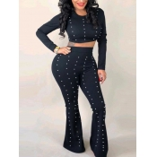 Lovely Sweet Flared Pearl Decoration Black Two Piece Pants Set