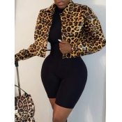 Lovely Casual Leopard Print Patchwork Yellow Leath
