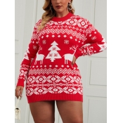 Lovely Trendy Christmas Day Geometric Print Red Pl