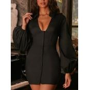 Lovely Stylish V Neck Long Sleeve Fold Design Blac