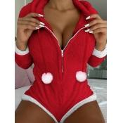 Lovely Trendy Christmas Day Zipper Design Red Slee