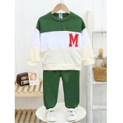 Lovely Sportswear Letter Print Patchwork Green Boy