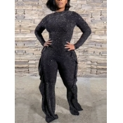 Lovely Casual Flounce Design Patchwork Black One-p