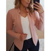 Lovely Formal Basic Skinny Pink Blazer