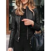 Lovely Casual Mandarin Collar Zipper Design Black