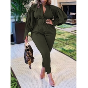 Lovely Trendy Ruffed Sleeve Army Green Plus Size T