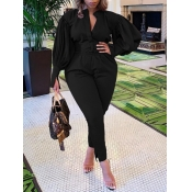 Lovely Trendy Ruffed Sleeve Black Plus Size Two-pi