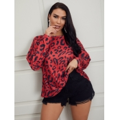 Lovely Casual Dropped Shoulder Sleeve Leopard Prin