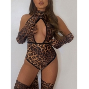 Lovely Sexy Leopard Print Patchwork Hollow-out Bod