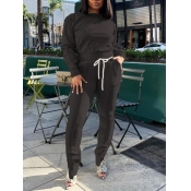 Lovely Casual O Neck Slit Drawstring Design Black Two Piece Pants Set