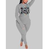 Lovely Casual Turtleneck Letter Print Grey Plus Si