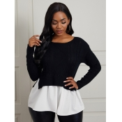 Lovely Sweater O Neck Patchwork Black Sweater