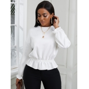 Lovely Casual O Neck Flounce White Sweater