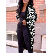 Lovely Casual Leopard Print Black Cardigan