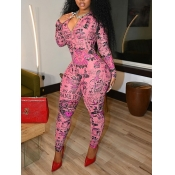 Lovely Street Zipper Letter Print Patchwork Pink One-piece Jumpsuit(No-positioning Printing)