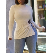 Lovely Casual Half A Turtleneck Hollow-out Beige S