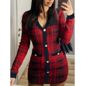 Lovely Casual Plaid Print Patchwork Red Mini Dress