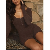 Lovely Casual U Neck Button Design Brown One-piece