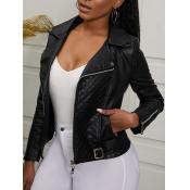 Lovely Casual Turndown Collar Pocket Design Black