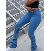 Lovely Casual Fold Design Skinny Royalblue Jeans