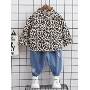Lovely Casual Leopard Print Patchwork Broken Holes