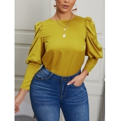 Lovely Casual O Neck Ruffle Design Yellow Blouse