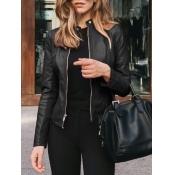 Lovely Formal Mandarin Collar Zipper Design Black
