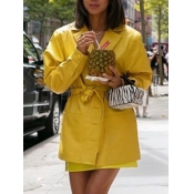 Lovely Street Lace-up Button Design Yellow Leather