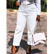 Lovely Casual High-waisted Pocket Design White Jea