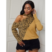 Lovely Chic Leopard Print Patchwork Hollow-out Swe