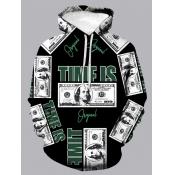 Lovely Street Hooded Collar Letter Print Black Men