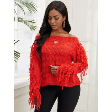 Lovely Trendy Off The Shoulder Tassel Design Red S