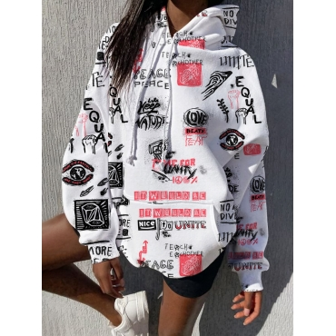 Lovely Street Hooded Collar Letter Print White Hoo