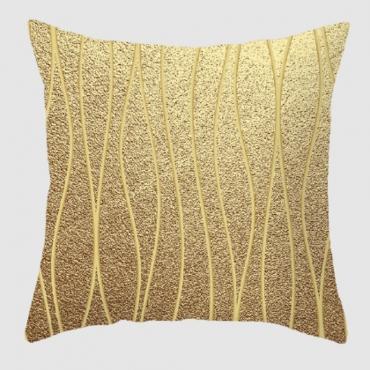 Lovely Geometric Print Gold Decorative Pillow Case