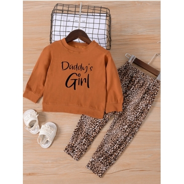 Lovely Casual O Neck Letter Print Brown Girl Two-p