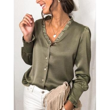 Lovely Formal V Neck Buttons Design Green Blouse