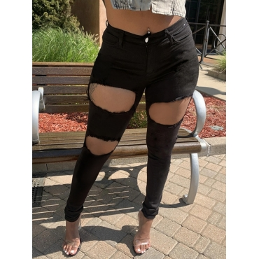 Lovely Street Hollow-out Black Jeans