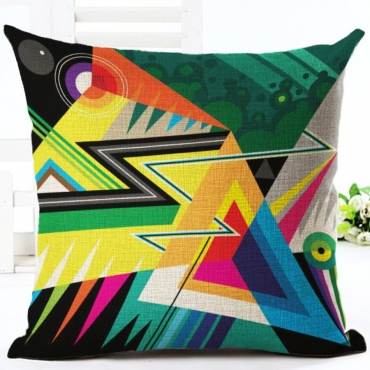 Lovely Geometric Print Multicolor Decorative Pillo