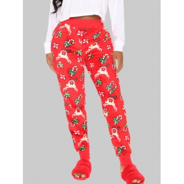 Lovely Casual Elastic Waist Print Red Pants