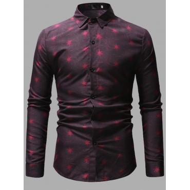 Lovely Formal Star Print Patchwork Red Men Shirt