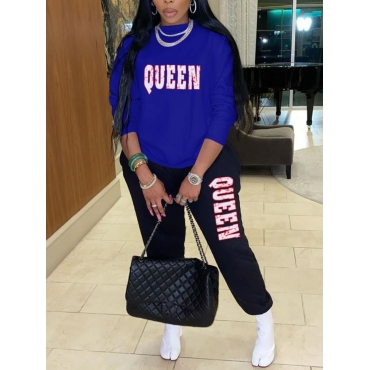 Lovely Casual O Neck Letter Print Blue Plus Size T