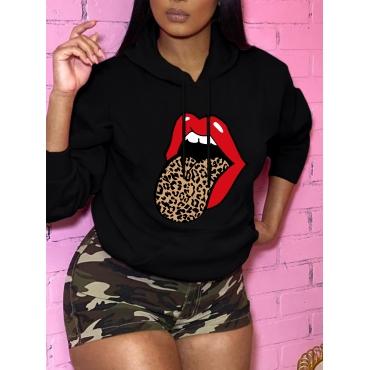 Lovely Casual Hooded Collar Lip Print Black Hoodie