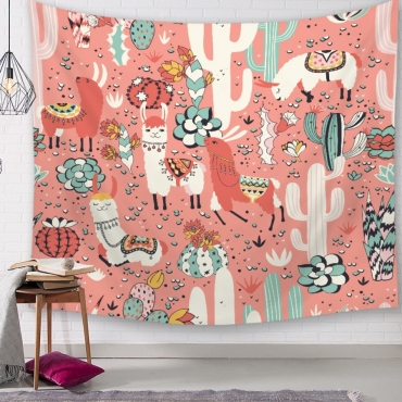 Lovely Christmas Day Cartoon Print Pink Wall Cloth