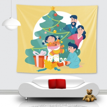 Lovely Christmas Day Family Print Patchwork Yellow