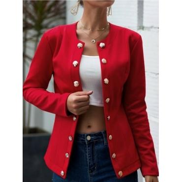 Lovely Stylish O Neck Button Design Red Blazer
