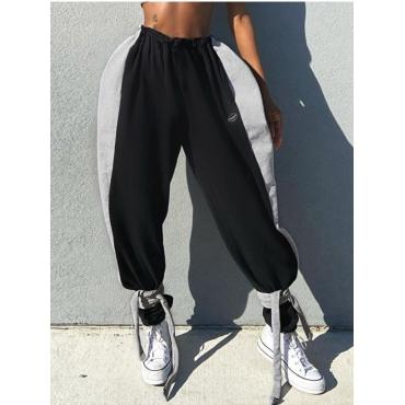 Lovely Casual Elastic Waist Patchwork Black Pants