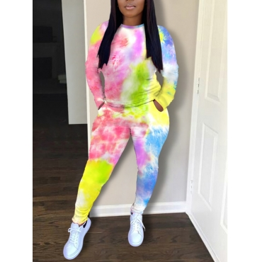 Lovely Casual Tie Dye Print Multicolor Two Piece P